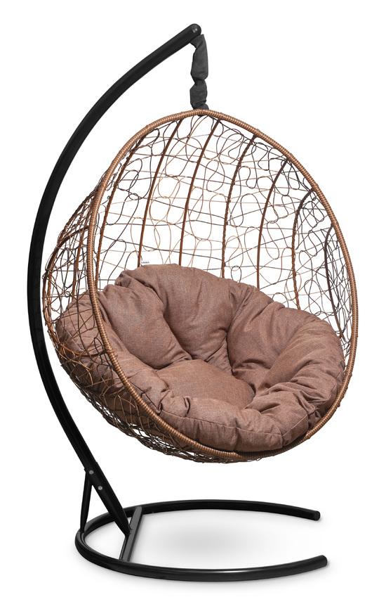 Фото №5 Подвесное кресло-кокон MALAGA горячий шоколад + каркас
