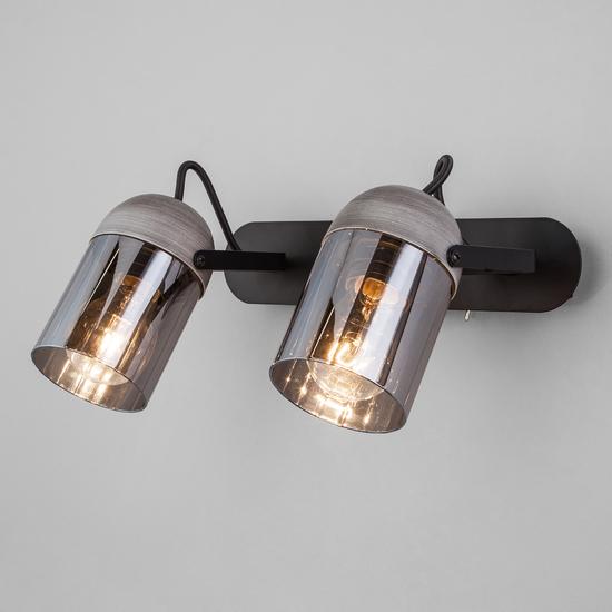 Фото №2 Настенный светильник с поворотными плафонами 20122/2 черный/тертый серый