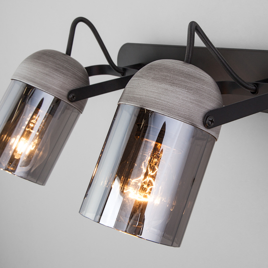 Фото №3 Настенный светильник с поворотными плафонами 20122/2 черный/тертый серый