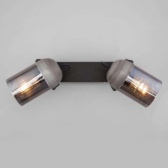 Фото №4 Настенный светильник с поворотными плафонами 20122/2 черный/тертый серый