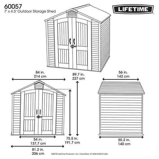 Фото №12 Пластиковый сарай LifeTime 7'x4,5' (2,1 м х 1,37 м)