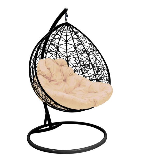 """Фото №2 Подвесное кресло """"Для двоих"""" Ротанг, с бежевой подушкой Черное"""