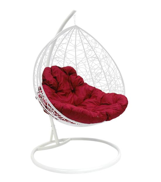 """Фото №2 Подвесное кресло """"Для двоих"""" Ротанг, с бордовой подушкой Белое"""
