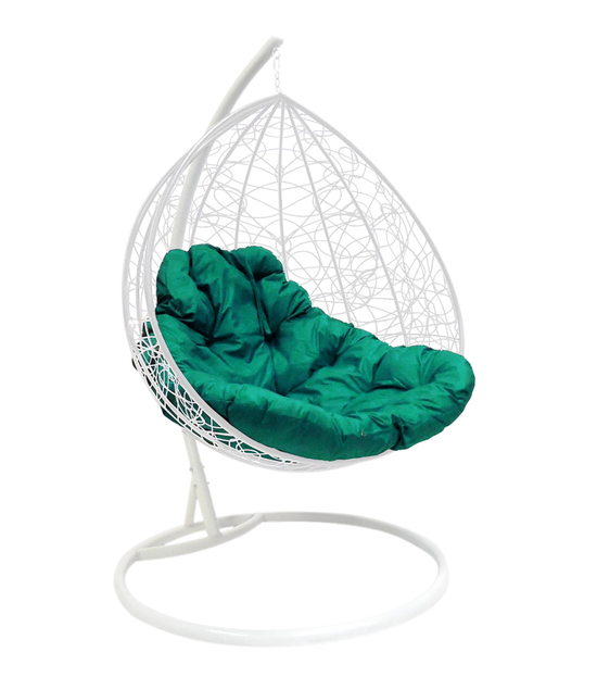 """Фото №2 Подвесное кресло """"Для двоих"""" Ротанг, с зелёной подушкой Белое"""