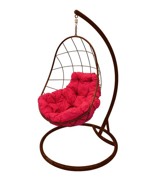 """Фото №2 Подвесное кресло """"Овал"""" с малиновой подушкой Коричневое"""