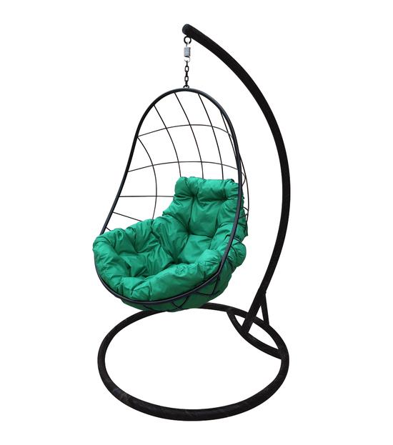 """Фото №2 Подвесное кресло """"Овал"""" с зелёной подушкой Черное"""