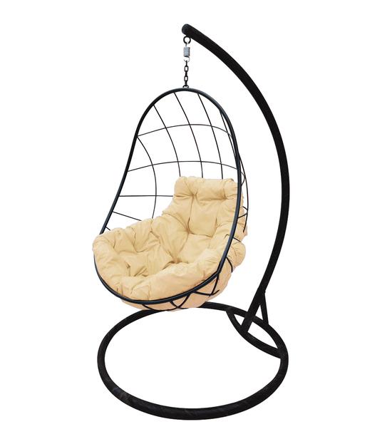 """Фото №2 Подвесное кресло """"Овал"""" с бежевой подушкой Черное"""