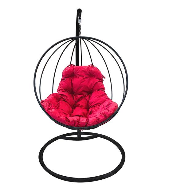 """Фото №2 Подвесное кресло """"Круглое"""" с малиновой подушкой Черное"""