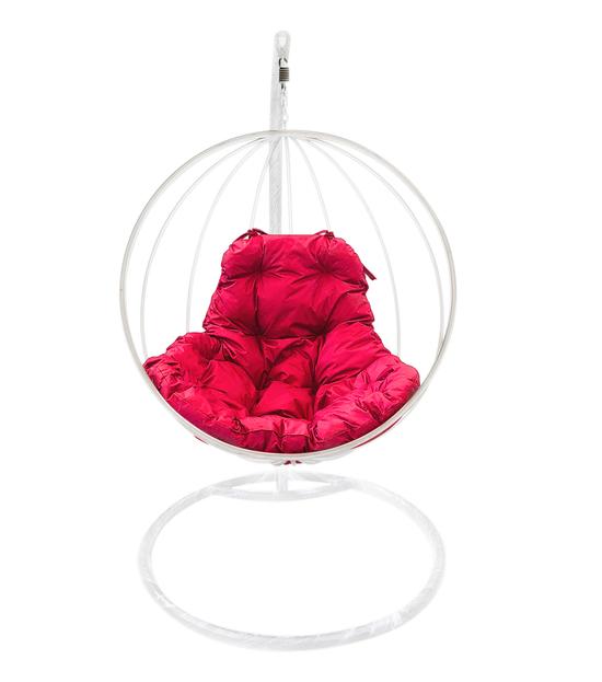 """Фото №2 Подвесное кресло """"Круглое"""" с малиновой подушкой Белое"""