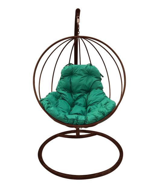 """Фото №2 Подвесное кресло """"Круглое"""" с зеленой подушкой Коричневое"""