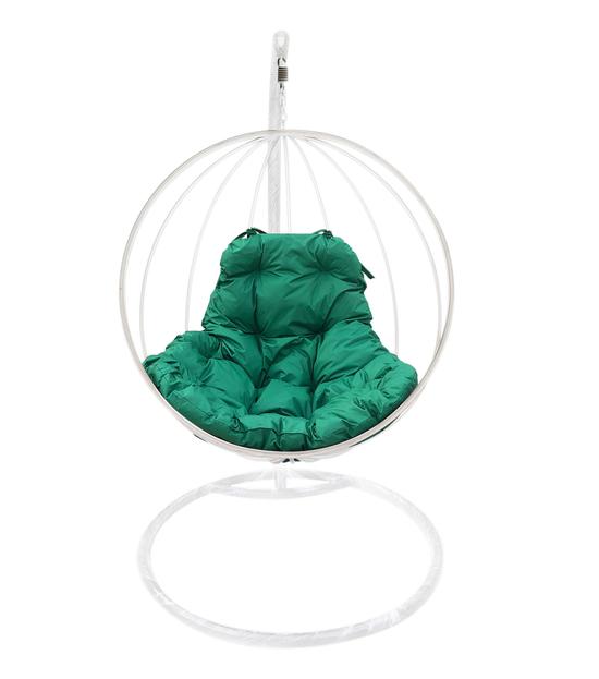 """Фото №2 Подвесное кресло """"Круглое"""" с зеленой подушкой Белое"""