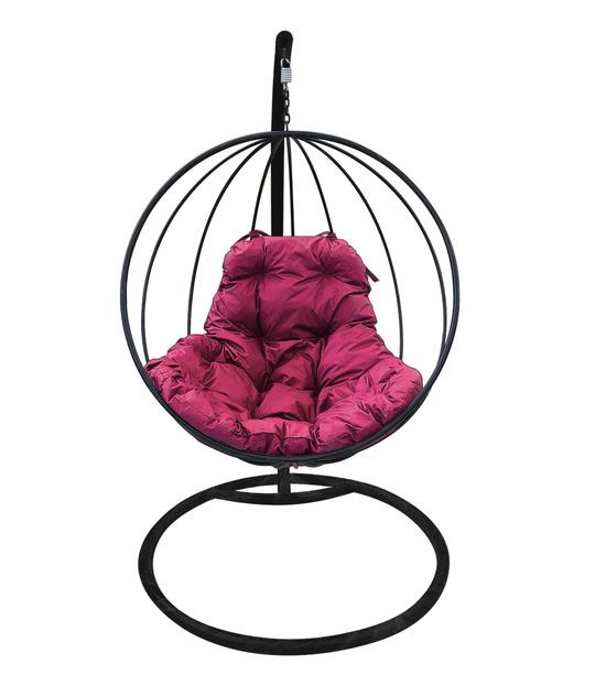 """Фото №2 Подвесное кресло """"Круглое"""" с бордовой подушкой Черное"""