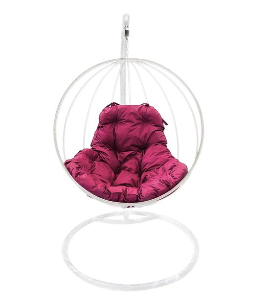 """Фото №2 Подвесное кресло """"Круглое"""" с бордовой подушкой Белое"""