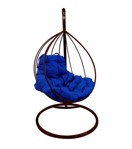 """Фото №2 Подвесное кресло """"Капля"""" с синей подушкой Коричневое"""