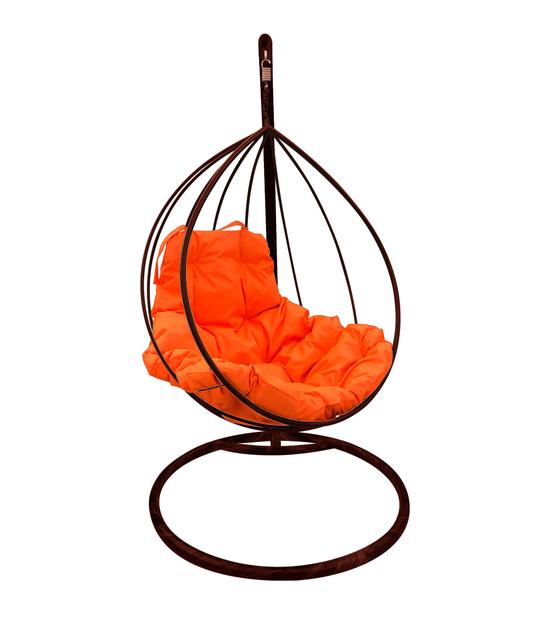 """Фото №2 Подвесное кресло """"Капля"""" с оранжевой подушкой Коричневое"""