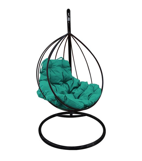 """Фото №2 Подвесное кресло """"Капля"""" с зелёной подушкой Черное"""