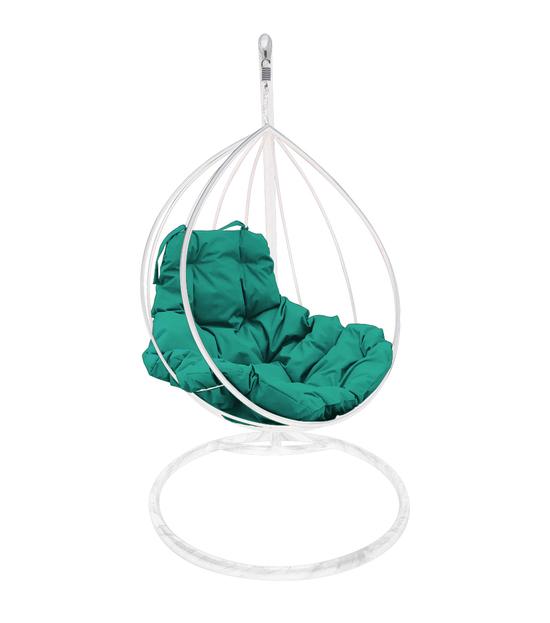 """Фото №2 Подвесное кресло """"Капля"""" с зелёной подушкой Белое"""