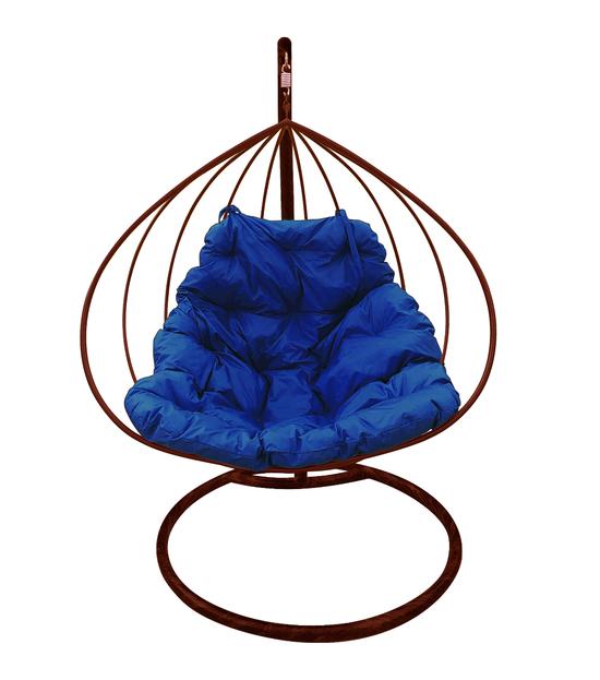 """Фото №2 Подвесное кресло """"Для двоих"""" с синей подушкой Коричневое"""