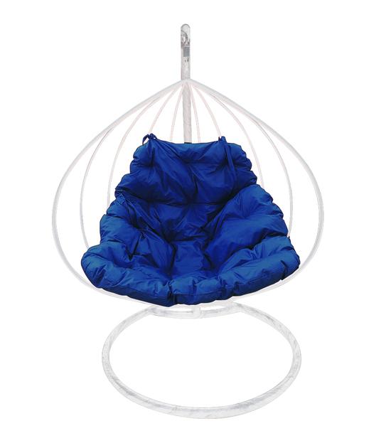 """Фото №2 Подвесное кресло """"Для двоих"""" с синей подушкой Белое"""