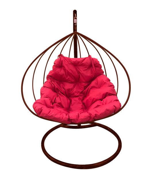 """Фото №2 Подвесное кресло """"Для двоих"""" с малиновой подушкой Коричневое"""