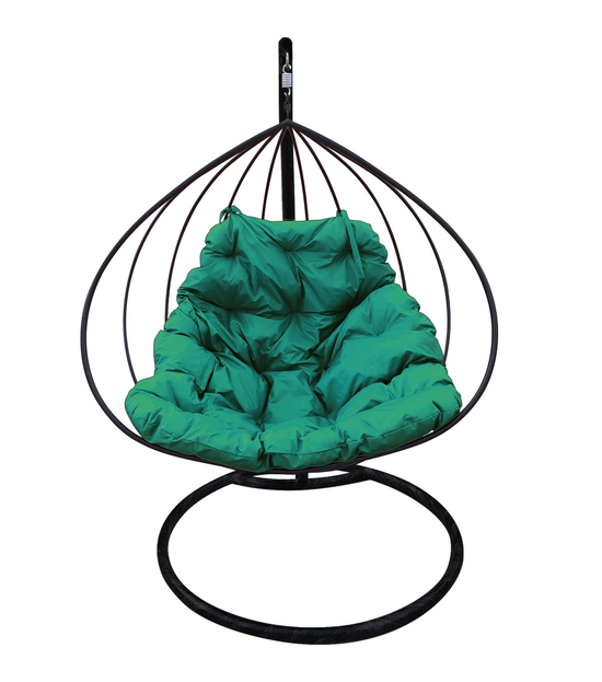 """Фото №2 Подвесное кресло """"Для двоих"""" с зелёной подушкой Черное"""