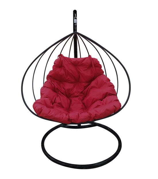 """Фото №2 Подвесное кресло """"Для двоих"""" с бордовой подушкой Черное"""