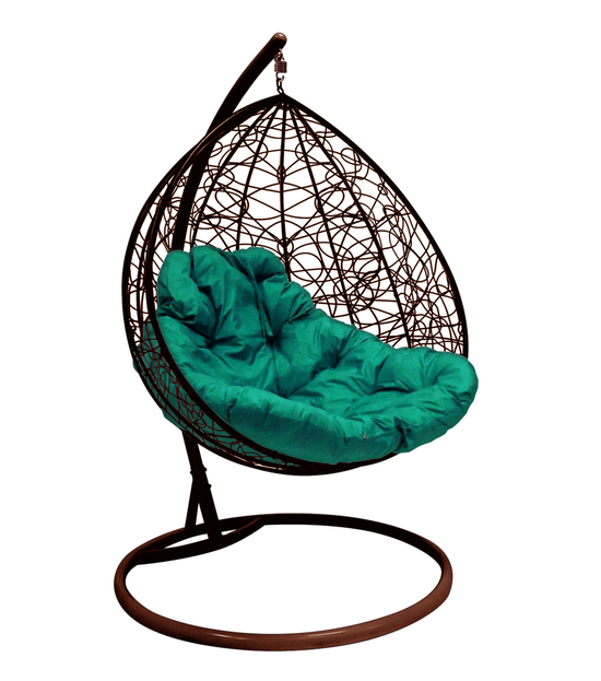 """Фото №2 Подвесное кресло """"Для двоих"""" Ротанг, с зелёной подушкой Коричневое"""