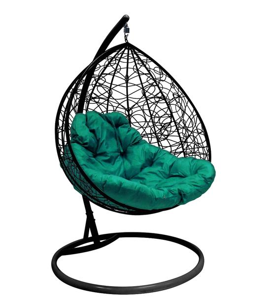 """Фото №2 Подвесное кресло """"Для двоих"""" Ротанг, с зелёной подушкой Черное"""