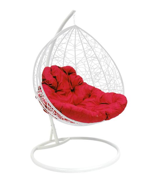 """Фото №2 Подвесное кресло """"Для двоих"""" Ротанг, с малиновой подушкой Белое"""
