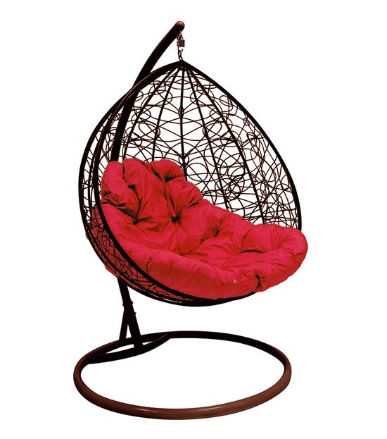 """Фото №2 Подвесное кресло """"Для двоих"""" Ротанг, с малиновой подушкой Коричневое"""