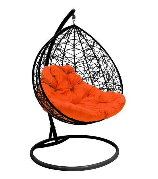 """Фото №2 Подвесное кресло """"Для двоих"""" Ротанг, с оранжевой подушкой Черное"""