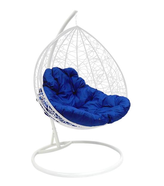 """Фото №2 Подвесное кресло """"Для двоих"""" Ротанг, с синей подушкой Белое"""
