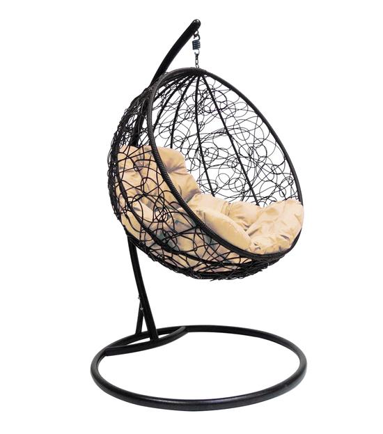 """Фото №2 Подвесное кресло """"Круглое"""" с ротангом, с бежевой подушкой Черное"""