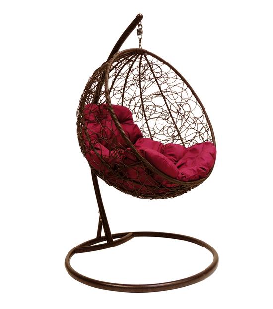 """Фото №2 Подвесное кресло """"Круглое"""" с ротангом, с бордовой подушкой Коричневое"""
