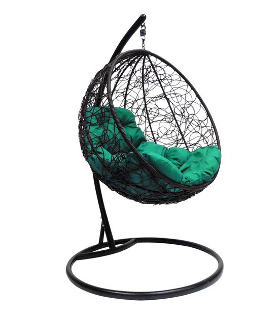 """Фото №2 Подвесное кресло """"Круглое"""" с ротангом, с зелёной подушкой Черное"""