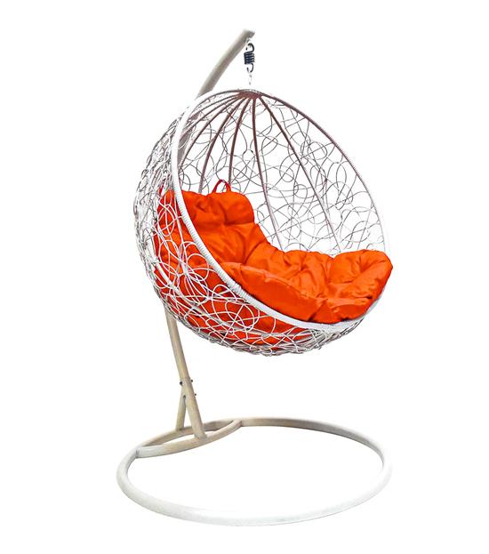 """Фото №2 Подвесное кресло """"Круглое"""" с ротангом, с оранжевой подушкой Белое"""