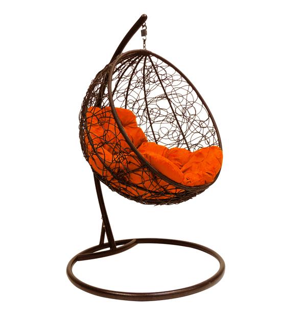 """Фото №2 Подвесное кресло """"Круглое"""" с ротангом, с оранжевой подушкой Коричневое"""