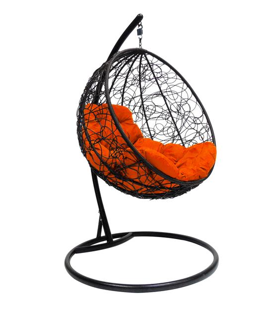 """Фото №2 Подвесное кресло """"Круглое"""" с ротангом, с оранжевой подушкой Черное"""