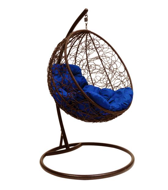 """Фото №2 Подвесное кресло """"Круглое"""" с ротангом, с синей подушкой Коричневое"""