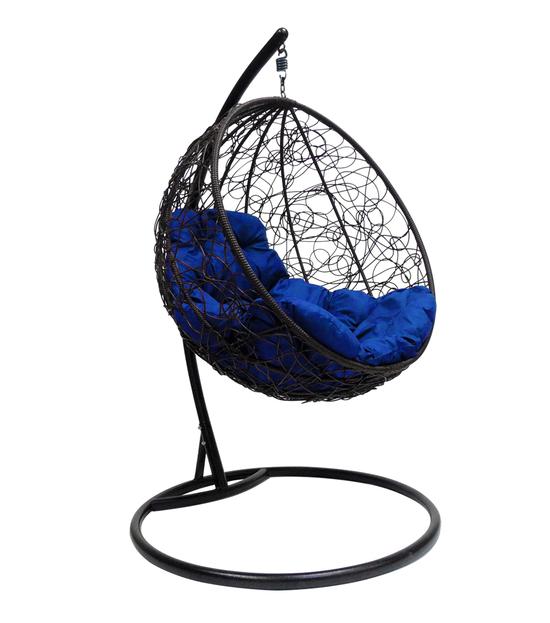 """Фото №2 Подвесное кресло """"Круглое"""" с ротангом, с синей подушкой Черное"""