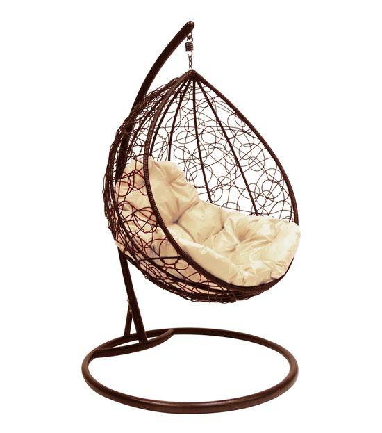 """Фото №2 Подвесное кресло """"Капля Ротанг"""", с бежевой подушкой Коричневое"""