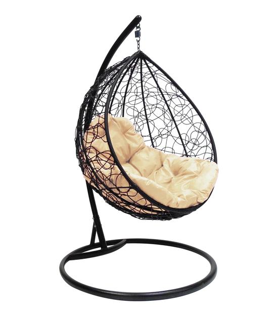 """Фото №2 Подвесное кресло """"Капля Ротанг"""", с бежевой подушкой Черное"""