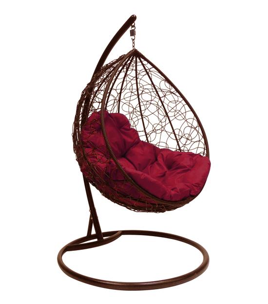 """Фото №2 Подвесное кресло """"Капля Ротанг"""", с бордовой подушкой Коричневое"""