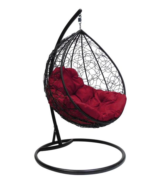 """Фото №2 Подвесное кресло """"Капля Ротанг"""", с бордовой подушкой Черное"""