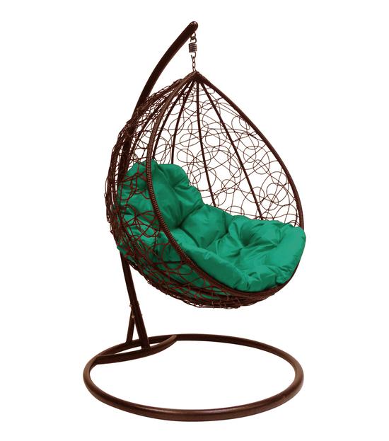 """Фото №2 Подвесное кресло """"Капля Ротанг"""", с зелёной подушкой Коричневое"""
