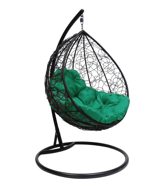 """Фото №2 Подвесное кресло """"Капля Ротанг"""", с зелёной подушкой Черное"""