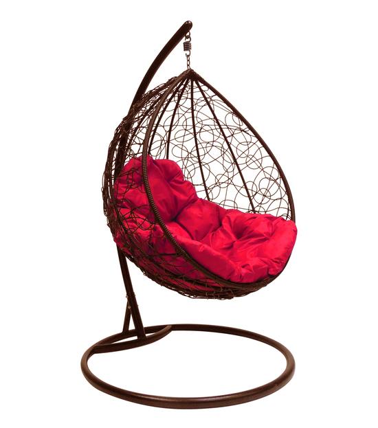 """Фото №2 Подвесное кресло """"Капля Ротанг"""", с малиновой подушкой Коричневое"""