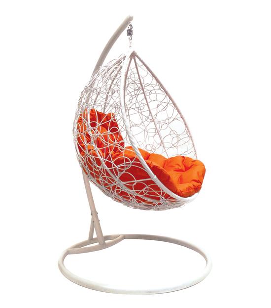 """Фото №2 Подвесное кресло """"Капля Ротанг"""", с оранжевой подушкой Белое"""