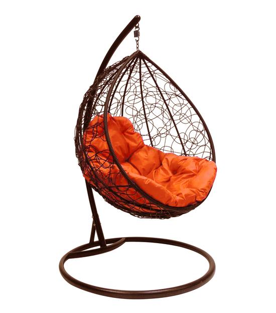 """Фото №2 Подвесное кресло """"Капля Ротанг"""", с оранжевой подушкой Коричневое"""