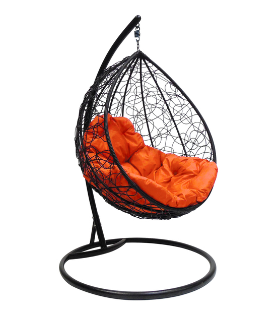 """Фото №2 Подвесное кресло """"Капля Ротанг"""", с оранжевой подушкой Черное"""